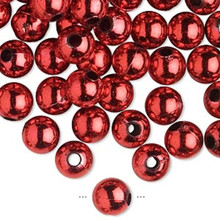 200 Grams Acrylic Metallic Red 8mm Round Beads