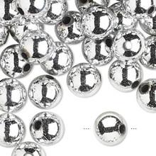 100 Grams Acrylic Metallic Silver 6mm Round Beads
