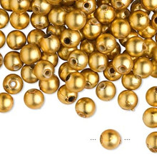 100 Grams Acrylic Matte Metallic Gold 6mm Round Beads