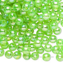 100 Grams Acrylic Aurora Borealis Translucent Lime Green 6mm Round Beads