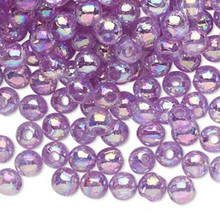 100 Grams Acrylic Aurora Borealis Translucent Violet Purple 6mm Round Beads