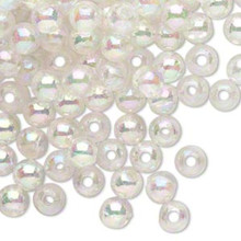 100 Grams Acrylic Aurora Borealis Clear 6mm Round Beads