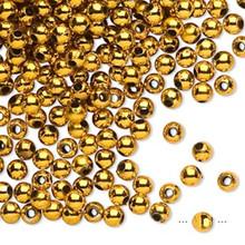 100 Grams Acrylic Metallic Gold 4mm Round Beads
