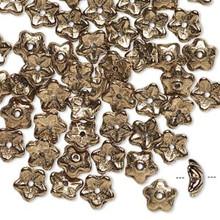 50 Czech Glass Opaque Bronze 10x3mm Flower Bead Caps ~ Fits 7-9mm Beads  *