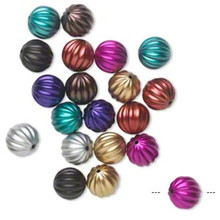 20 Opaque Metallic Acrylic 23mm Corrugated Round Bead Assortment *
