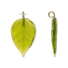 12 Glass Leaf Charm Pendants Green ~ 26x16mm Leaves