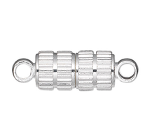 10 Silver Plated Brass 11x5mm Corrugated Oval Magnetic Clasps