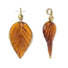 12 Glass Leaf Charm Pendants Amber ~ 36x15mm Leaves