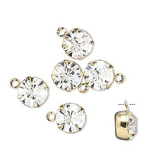 6 Gold Plated Brass Drop Charms with Swarovski Clear Crystals ~ 8.16-8.41mm Round (17704), SS39