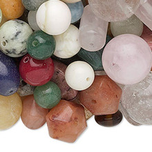 1 Pound Multi-Gemstone B Grade Bead Mix ~ 400 Assorted Shapes, Sizes & Colors