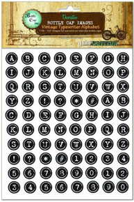 "1 Sheet (176) Vintage Typewriter Alphabet 1/2"" Bottle Cap Images"