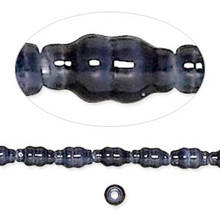 1 Strand Slate Blue Cat's Eye Fiber Optic Glass 8x4mm Fluted Beads  *