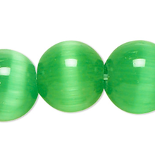 1 Strand Green Cat's Eye Fiber Optic Glass 4mm Round Grade A Beads