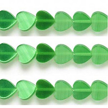 1 Strand Green Cat's Eye Fiber Optic Glass 8mm Flat Heart Beads *