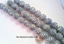 12 Black & Off White Striped Zebra Print Acrylic Round Beads ~ 16mm  *