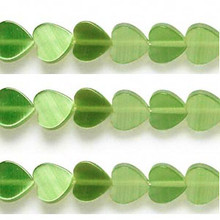 1 Strand Olive Green Cat's Eye Fiber Optic Glass 8x8mm Flat Heart Beads *