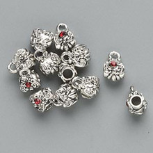 12 Antiqued Silver Slider Bead with Loop & Swarovski Siam Red Crystals  *
