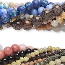 "Ten 15"" Strands Gemstone Bead Mix ~ Assorted Shapes, Sizes & Gemstones"