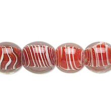 1 Strand Clear & Red White Swirl Lampwork  11-12mm Round Beads  *