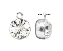 6 Silver Plated Brass Drop Charms with Swarovski Clear Crystals ~ 8.16-8.41mm Round (17704), SS39