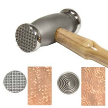 One 10 OZ BeadSmith Double Texture Hammer with Thin Circles & Speckles