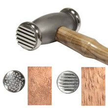 One 10 OZ BeadSmith Double Texture Hammer with Weave & Stripes