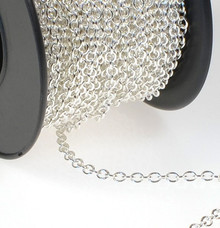 100 Inches Silver Plated Fine Cable Bulk Chain with 2x3mm Links *