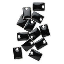 12 Silver Plated & Black Enamel 8x5mm Rectangle Charms *