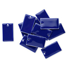 12 Silver Plated & Lapis Blue Enamel  23x14mm Rectangle Charms *