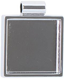 "1 Silver Plated Pewter 1 1/4"" Square Bezel Pendant Setting *"