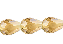 1 Strand Amber Gold 8x6mm Teardrop 56 Facets Crystal Beads  *