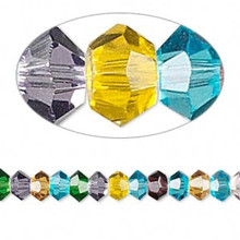 1 Strand Mixed Colors Crystals 16 Facets 6x3mm Faceted Disc Beads *