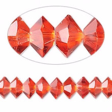 1 Strand Red Crystals 16 Facets 8x4mm Faceted Disc Beads *
