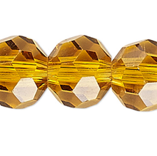 1 Strand Amber Gold Crystal Glass 32 Facets 6mm Round Beads