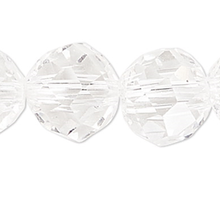 1 Strand Clear Crystal Glass 48 Facets 6mm Round Beads