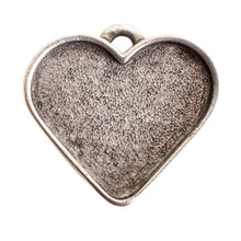 1 Antiqued Sterling Silver Plated Pewter Large Heart Bezel Pendant