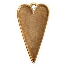 1 Antiqued Gold Plated Pewter Grande Heart Bezel Pendant