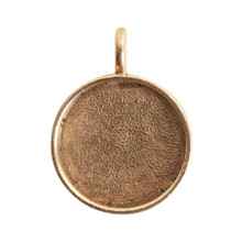 1 Antiqued Gold Plated Pewter Large Circle Bezel Pendant