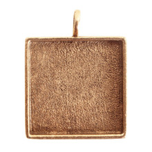 1 Antiqued Gold Plated Pewter Large Square Bezel Pendant