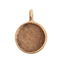 1 Antiqued Gold Plated Pewter Small Circle Bezel Pendant