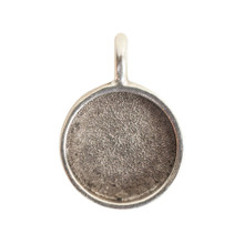1 Antiqued Silver Plated Pewter Small Circle Bezel Pendant