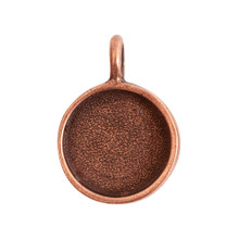 1 Antiqued Copper Plated Pewter Small Circle Bezel Pendant