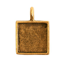 1 Antiqued Gold Plated Pewter Small Square Bezel Pendant