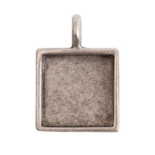 1 Antiqued Silver Plated Pewter Small Square Bezel Pendant