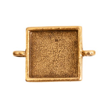 1 Antiqued Gold Plated Pewter Small LINK Square Bezel Pendant