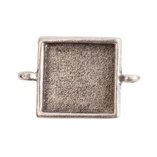 1 Antiqued Silver Plated Pewter Small LINK Square Bezel Pendant