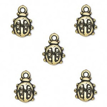 50 Grams Antiqued Gold Metalized Plastic 10x9mm Ladybug Charms *