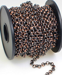 32 Foot Spool Antiqued Copper Plated Rolo Belcher Chain with 4.5mm Links