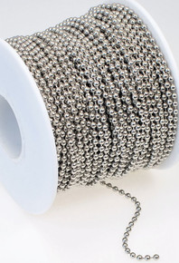 5 Feet White Plated Silvertone Steel Bulk 2.4mm Ball Chain
