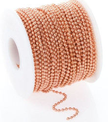 100 Foot Spool Raw Copper Steel Bulk 2.4mm Ball Chain